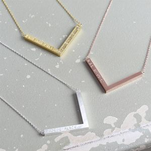 Personalised Chevron Pendant Necklace - minimal jewellery