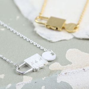 Personalised Miniature Padlock And Key Necklace