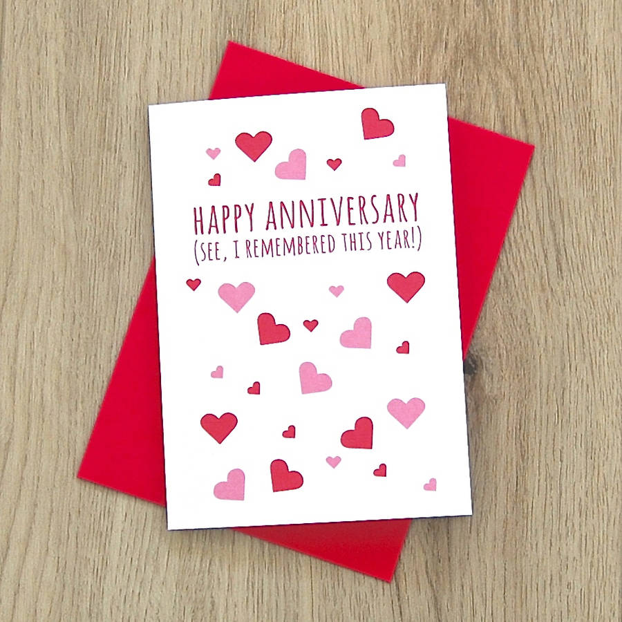 'Happy Anniversary, I Remembered This Year' Card