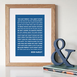 Bob Marley 'He's Not Perfect' Quote Print - sale by category