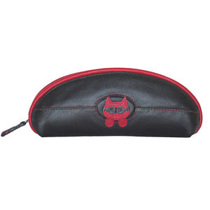 Leather Glasses Case With Peeping Tom Cat