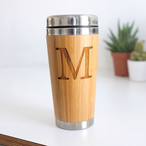 Personalised Wooden Initial Travel Mug - tableware