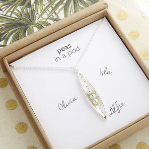 Personalised Peas In A Pod Necklace - women's jewellery