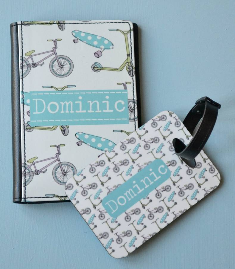 Boys Personalised Passport Cover And Tag