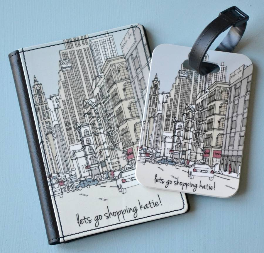 Personalised Passport Cover And Tag Cities Of The World