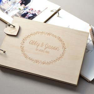 Personalised Wreath Wedding Guest Book - albums & guestbooks