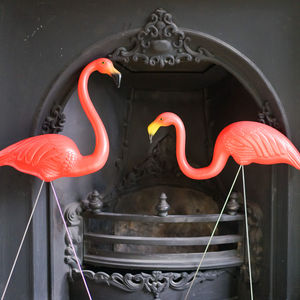 A Set Of Two Plastic Garden Flamingos - art & decorations