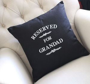 Reserved For Grandad Black Cushion