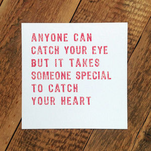 Love Card; 'Someone Special To Catch Your Heart' - anniversary cards