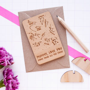 Mother's Day Wooden Star Constellations Card - sentimental cards