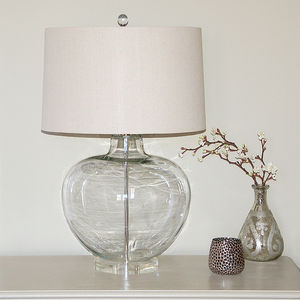 Glass Urn Table Lamp With Natural Shade