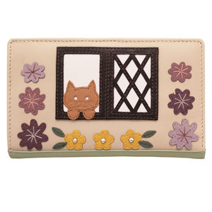 Cat In The Country Cottage Leather Purse