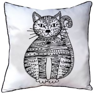 Cushion To Colour In With Cat