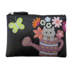 Cat In Watering Can Leather Coin Purse 20% Off - bags & purses