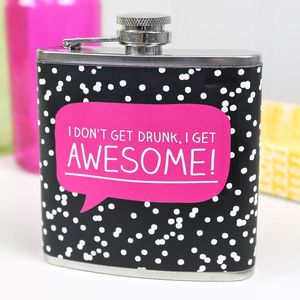 Happy Jackson 'I Get Awesome!' Hip Flask - camping