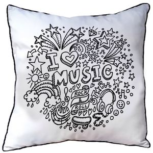 Cushion To Colour In I Love Music - cushions