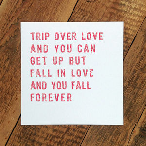 Love Card; 'Trip Over Love' - wedding, engagement & anniversary cards