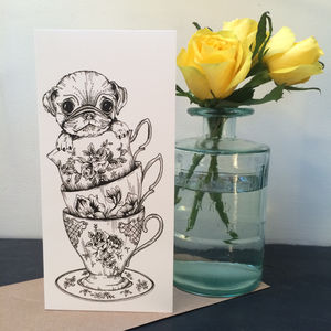 Teacup Pug Greeting Card