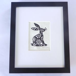 Floral Hare, Framed Limited Edition Linocut Print