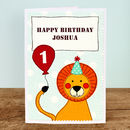 Personalised Age Lion Boys Birthday Card