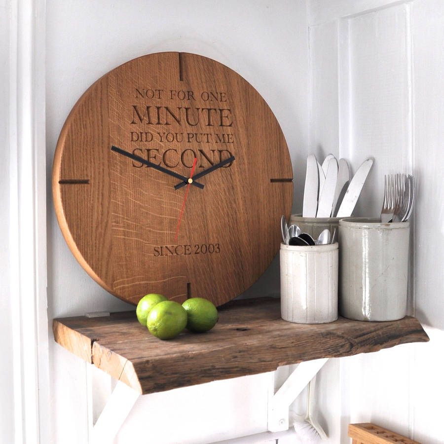 large personalised wooden oak wall clock by the oak rope company