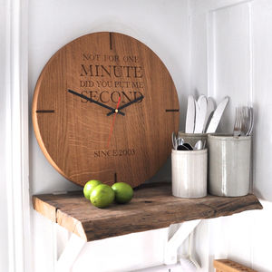 Large Personalised Wooden Oak Wall Clock - 5th anniversary: wood