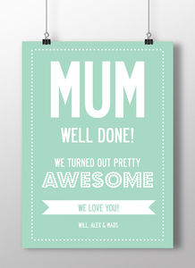 Mother's Day Personalised Poster Or Canvas