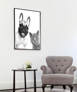 Cat And Dog, Pets, Ready To Hang Canvas Art - pictures & prints for children