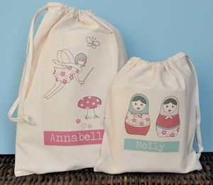 Girls Personalised Fabric Party Bags