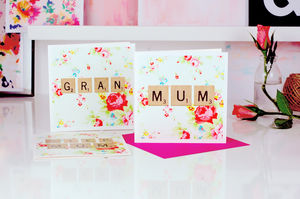 Floral Print Scrabble Mum Mothers Day Card - mother's day cards