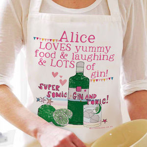 Personalised 'Lots Of Gin' Apron - baking