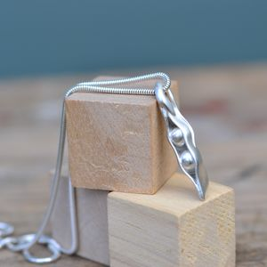 Handmade Silver Two Peas In A Pod Necklace - birthday gifts