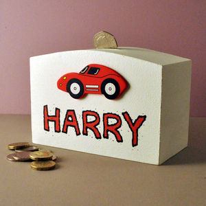 Personalised Money Box Racing Car