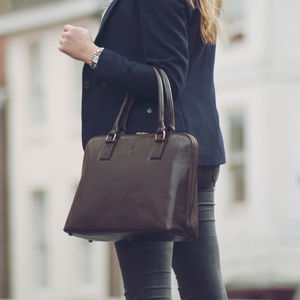 Ladies Leather Briefcase Handbag. 'The Fiorella'