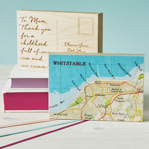 Bespoke Map Postcard Ornament - mixed media & collage