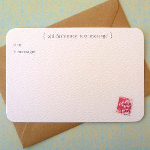 Set Of Six 'Text Message' Notecards