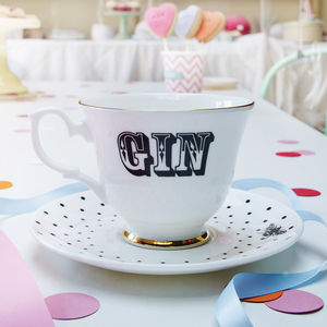 'Gin' Tea Cup And Saucer - tea for two