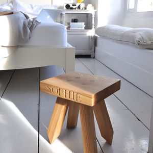 Personalised Children's Stool In Oak - dining room