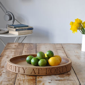 Personalised Fruit/Salad Bowl In Solid Oak