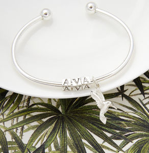 Personalised Name Bangle With Charm - women's jewellery