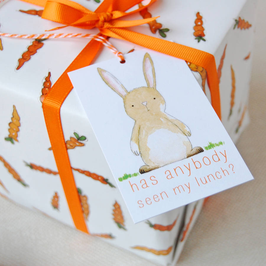 Carrots and rabbits wrapping paper set by clara and macy rabbit gift tag negle Images