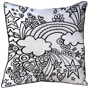 Cushion To Colour In With Rainbow