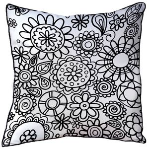 Cushion To Colour In With Flowers