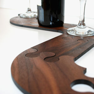 Solid Walnut Jigsaw Coasters And Trivet - dining room