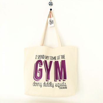 Large Canvas Tote With 'Gym' Quote