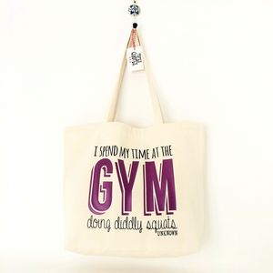 Large Canvas Tote With 'Gym' Quote - shopper bags