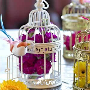 White Birdcage Table Decoration - summer wedding