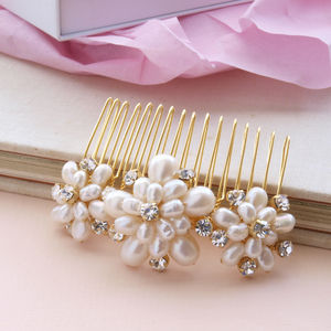 Emily Pearl Floral Bridal Hair Comb - head pieces