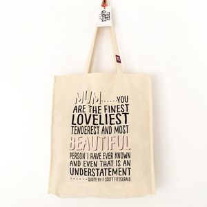 Cotton Shopping Tote With Quote For 'Mum'