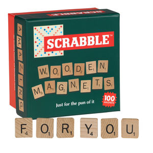Wooden Scrabble Magnet Set